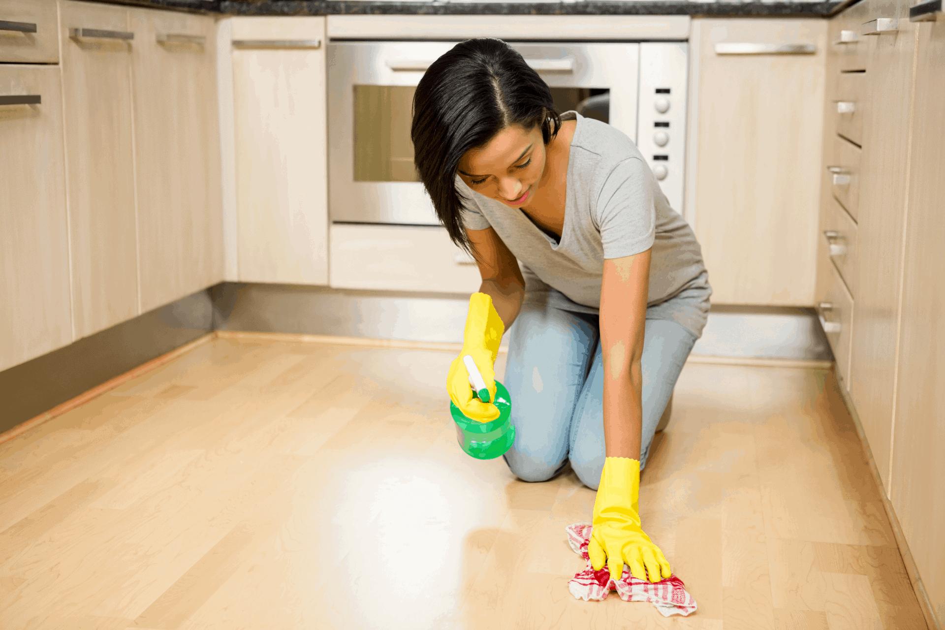 scrubbbing floor