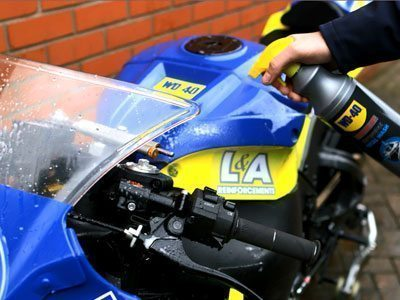 WD-40 Motorbike Total wash being used to clean a motorbike