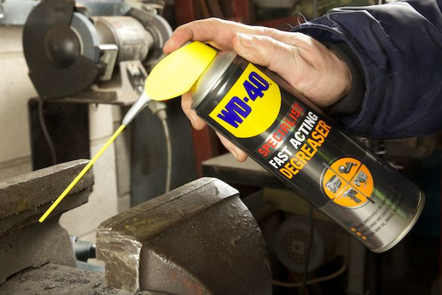 WD-40 Specialist Degreaser on rusted vice