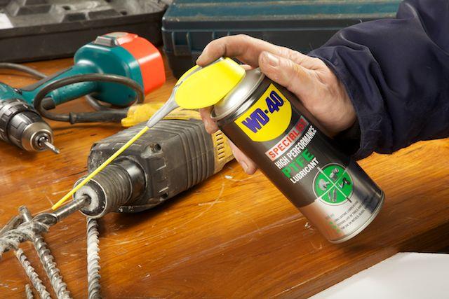 WD-40 Specialist HI Performance lube on drill bits