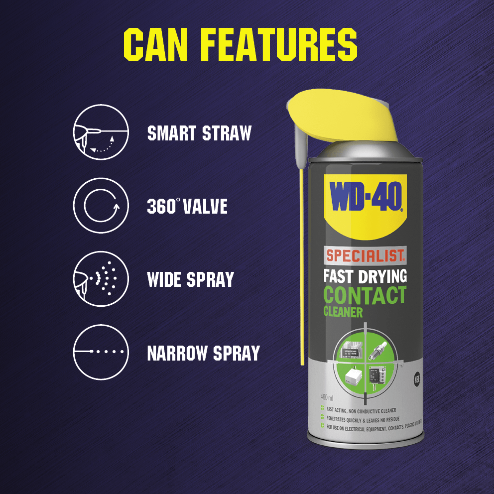 WD-40 Specialist Fast Drying Contact Cleaner Features
