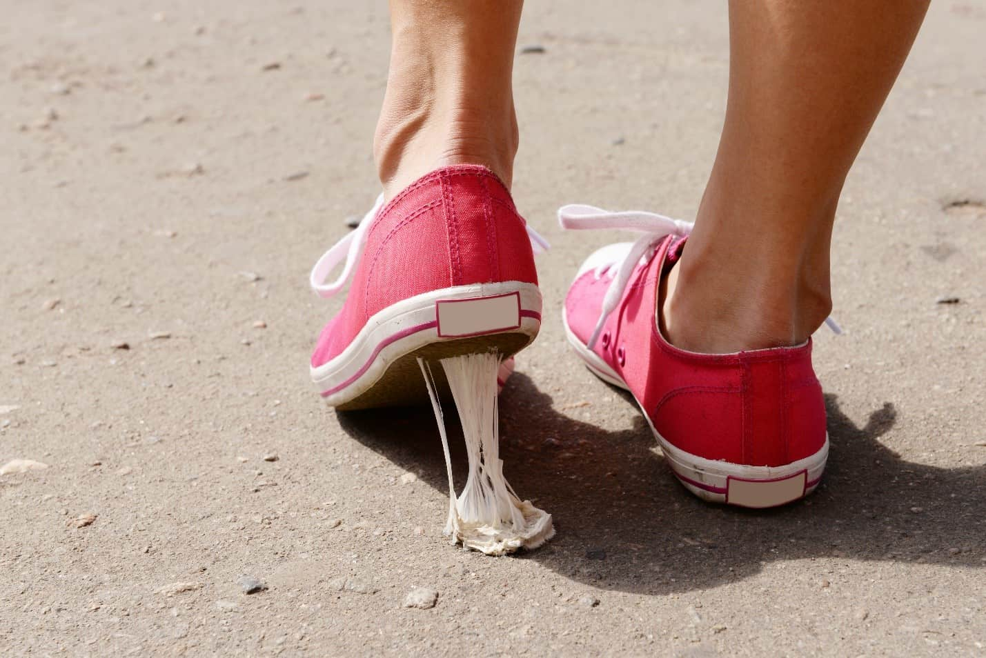 remove chewing gum from red shoes