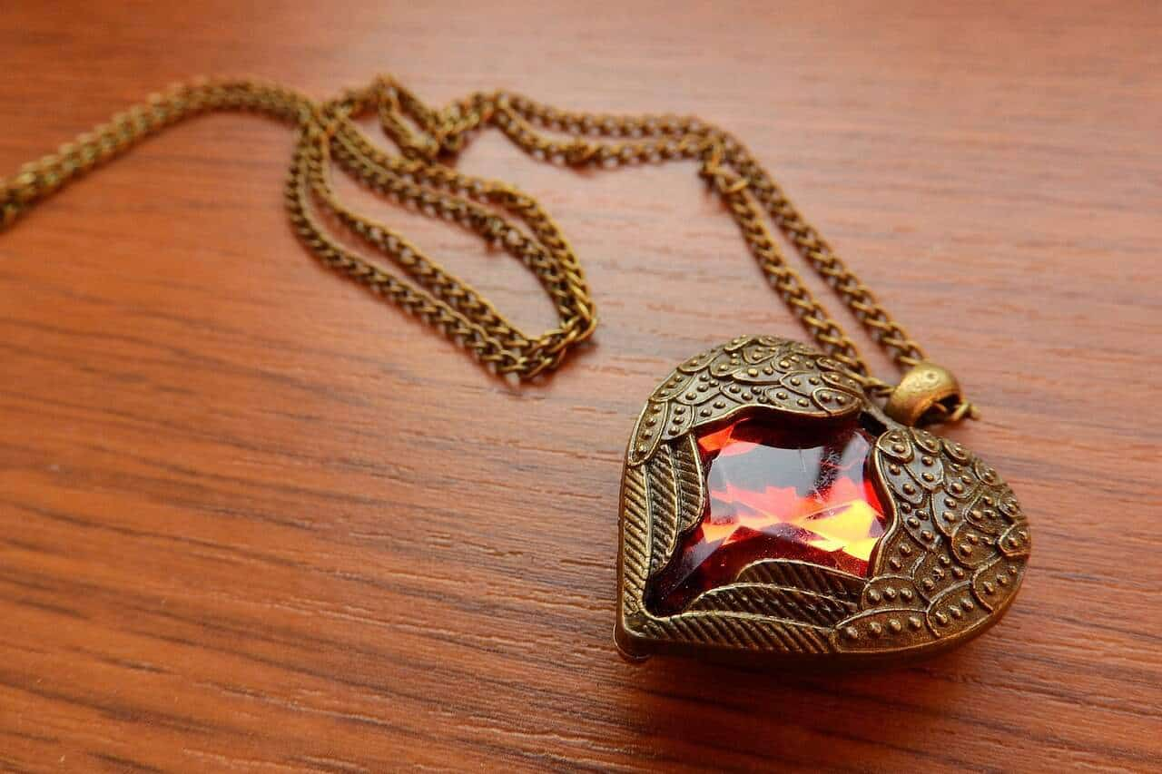 brass pendant with gemstone