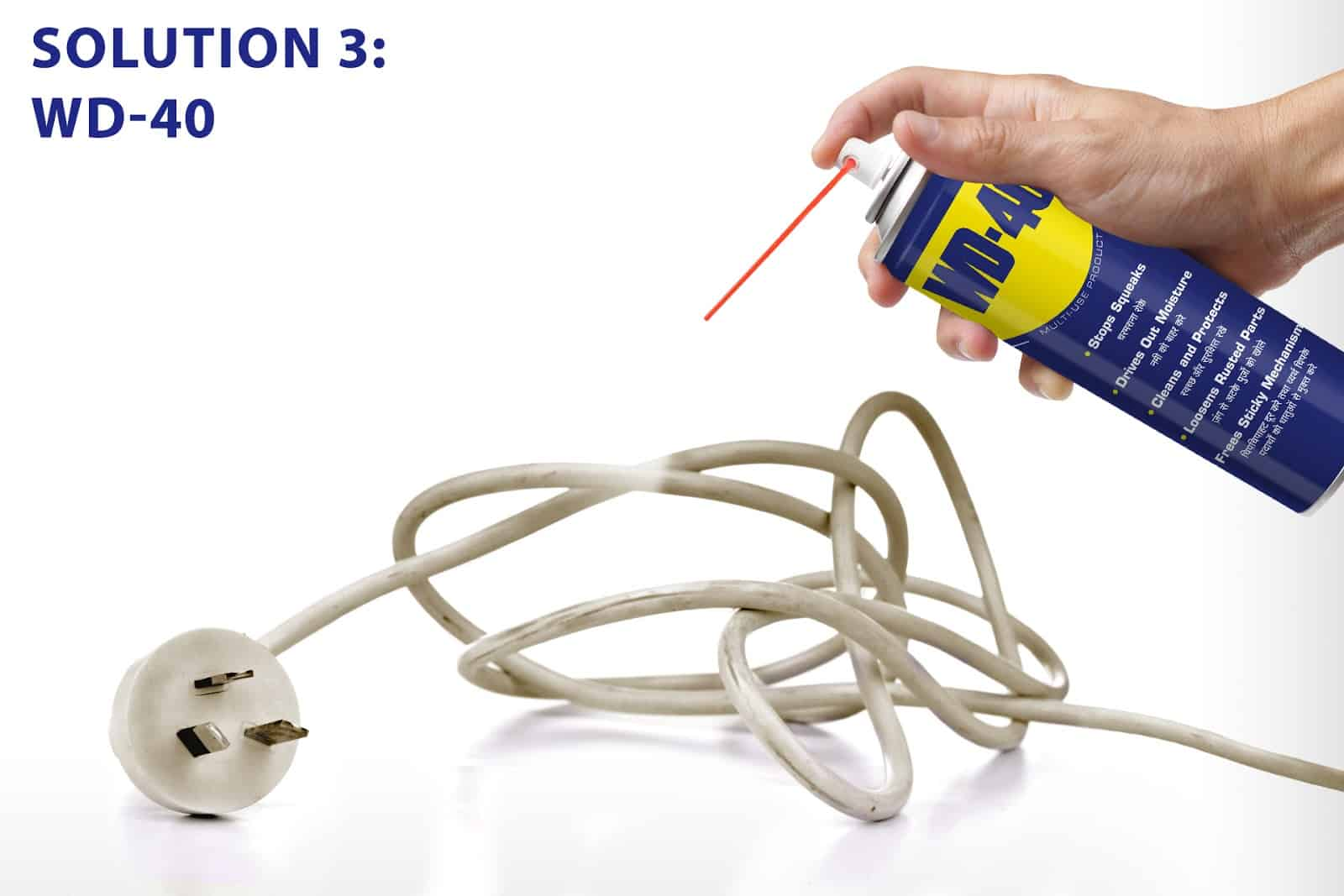 wd40 to clean power cords