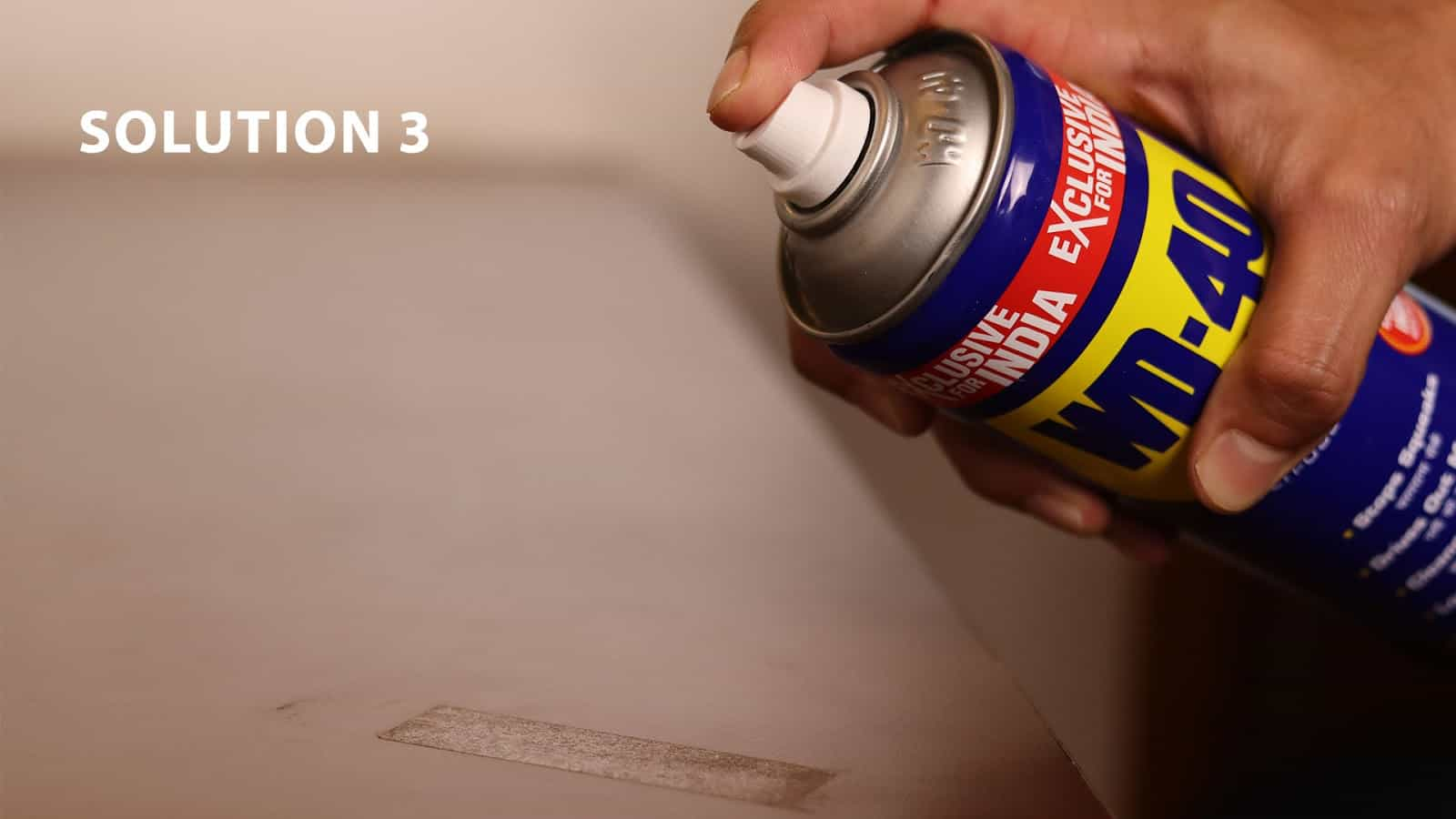 remove cello tape stains with WD-40