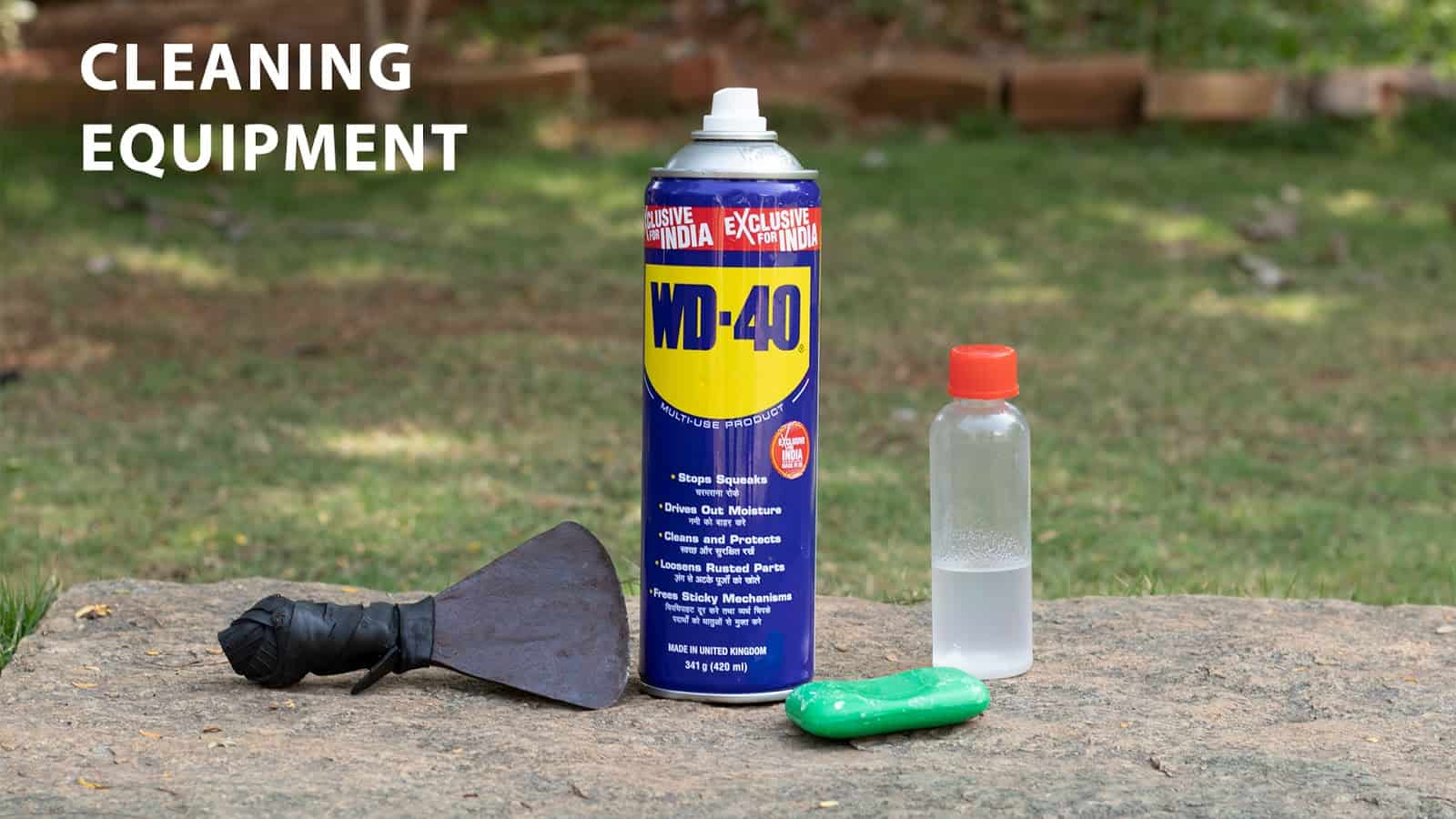 cleaning paintbrush using WD40