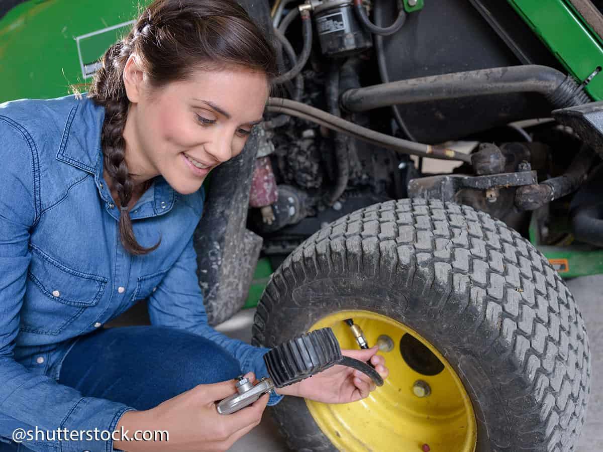 gonfiare ruote trattorino rasaerba