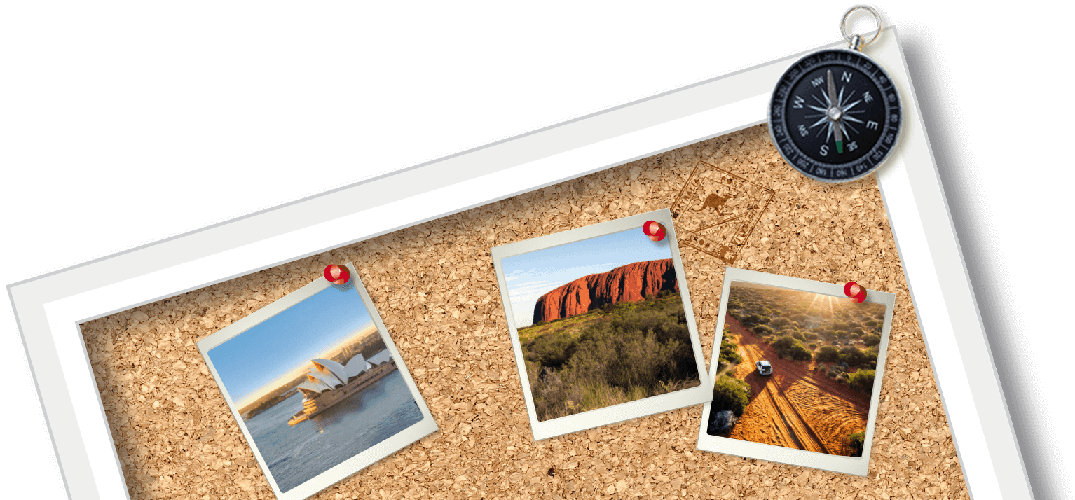 roadtrip australië top corkboard