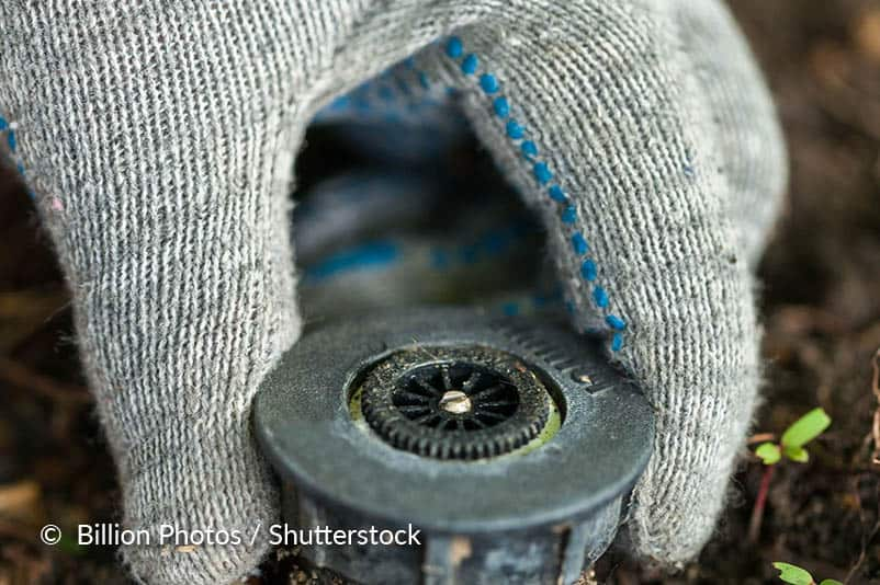 De kop van een pop-up sproeier reinigen