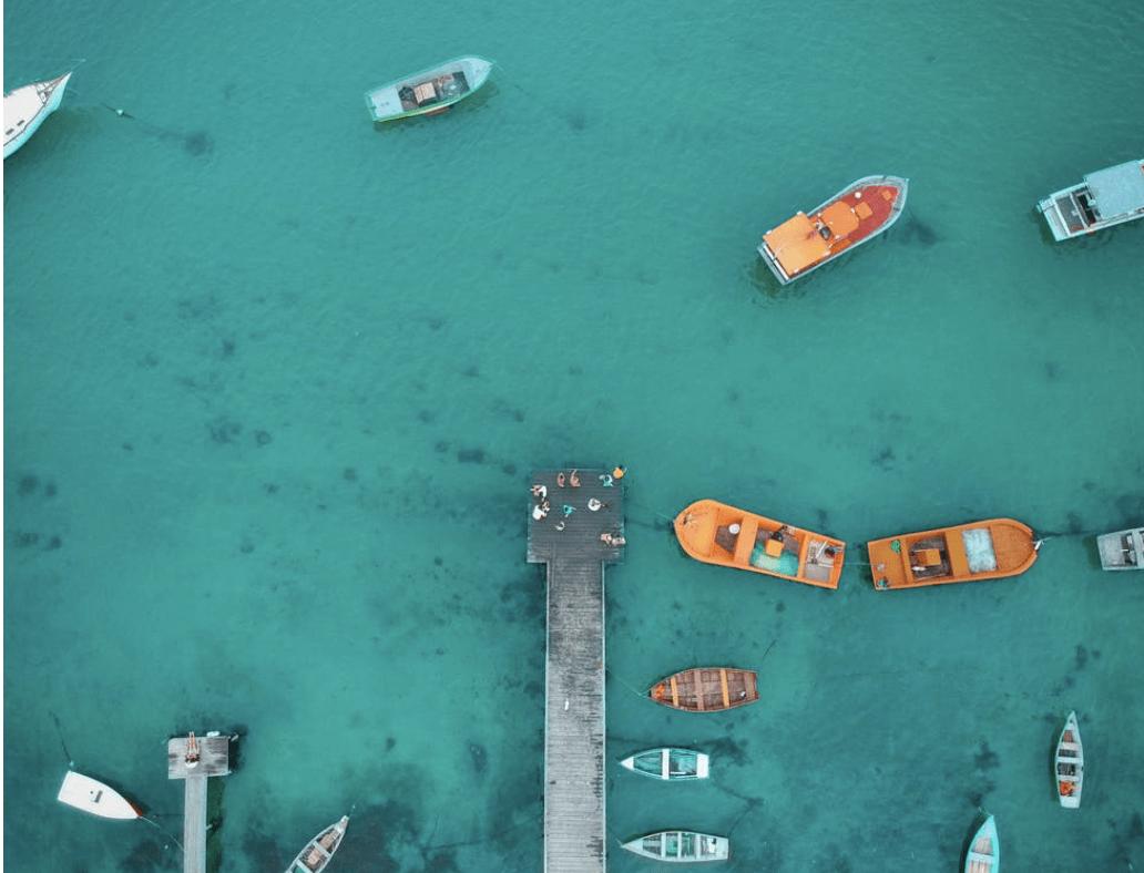 Letecký pohľad na niekoľko lodí na pobreží